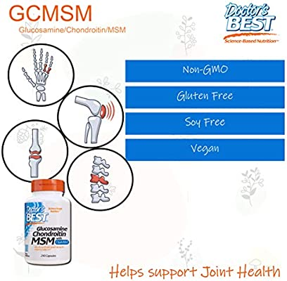Doctor's Best Glucosamine Chondroitin Msm with OptiMSM, Supports Healthy Joint Structure, Function & Comfort, Non-GMO, Gluten Free, Soy Free, 240 Caps