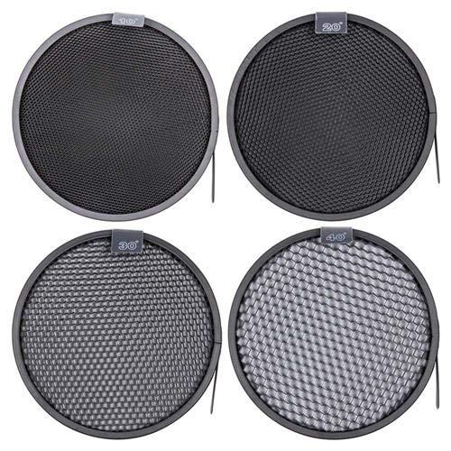 Interfit MR7G101 Studio Essentials Quality - 4 Honeycomb Grid Bundle 10/20 / 30/40 for Standard 7'' Reflector, Black by Interfit