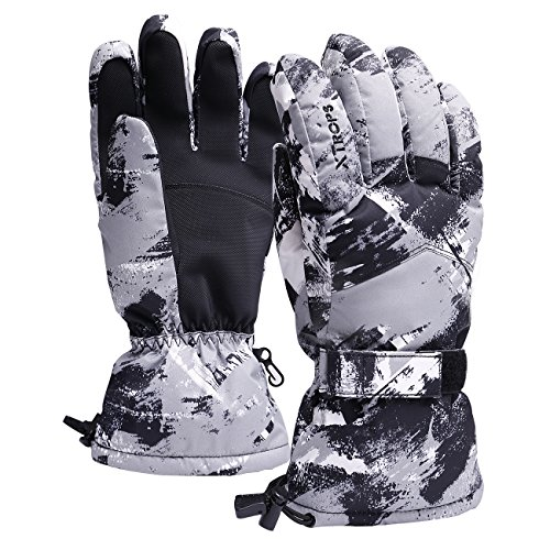 Plastic Mens Glove (Waterproof Snow Ski Gloves for Men Thinsulate Snowboard Gloves for Adults Windproof Winter Gloves for Snowboarding Skiing Motorcycling One Size Fits All)