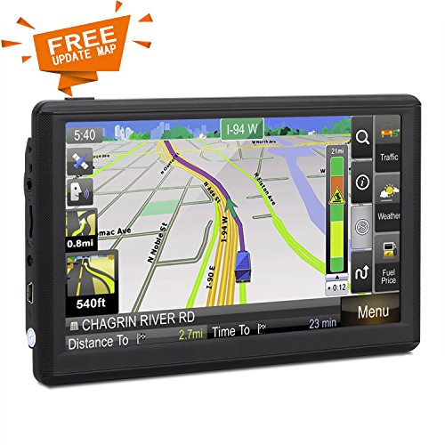 Car GPS, HighSound 7 inch Portable 8GB Navigation System for Cars, Lifetime Map Updates, Real Voice Turn-to-Turn Alert Vehicle GPS Sat-Nav Navigator, On-Dash Suction Cup Mount, Sun Shade