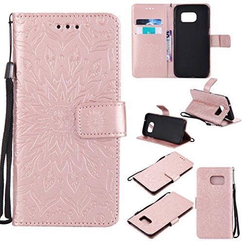 Firefish Galaxy S7 Edge Case,Durable PU Leather Wallet Cover Shock Proof Embossed Purse Case with Magnetic Closure Wrist Strap Credit Card Holde for Samsung Galaxy S7 Edge -Sunflower Rose Gold