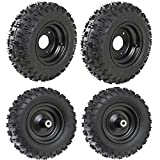 WPHMOTO 4 Sets of 4.10-6 Go Kart ATV Tubeless Tires with Rims | Front and Rear Tire for Scooter Quad Bikes 4 Wheelers