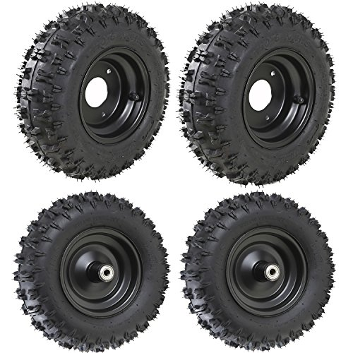 WPHMOTO 4 Sets of 4.10-6 Go Kart ATV Tubeless Tires with Rims | Front and Rear Tire for Scooter Quad Bikes 4 Wheelers by WPHMOTO