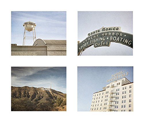 California Los Angeles Wall Art, Hollywood Studio Beach Town Iconic Landmark Decor, Set of 4 8x10 Matted Prints 'Tour of La La - Beach City Locations