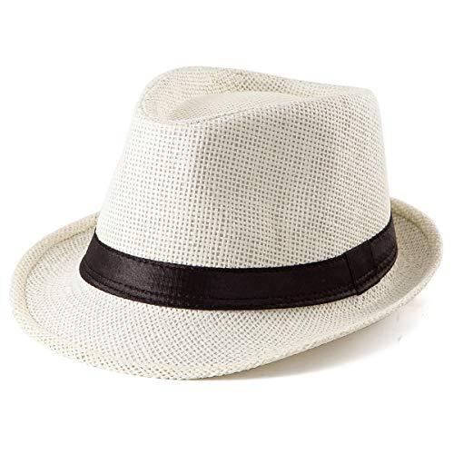 Straw Fedora Hats for Men - Women Sun Hat Trilby Hat Milk White Short Brim Hat