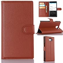 BlackBerry Priv Phone Case, Gift_Source [Brown] [Stand Feature] Magnetic Snap Case Wallet Premium Wallet Case Built-in Card Slots Flip Case Cover Skin for Blackberry PRIV Smartphone 5.4 inch