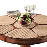Padded Round Table Placemats And Centerpiece, 7Pc Beige