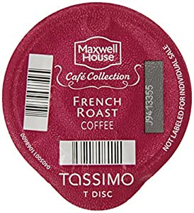 Maxwell House Cafe Collection French Roast Coffee (Dark), 16-Count T-Discs for Tassimo Coffeemakers (Pack of 2)