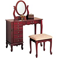 Coaster Cherry Finish Storage Vanity Table Set w/Mirror & Stool