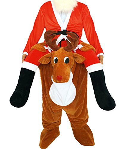 Huiyankej Piggyback Santa Costume Adult Carry On Me Costume Christmas Mascot Pants
