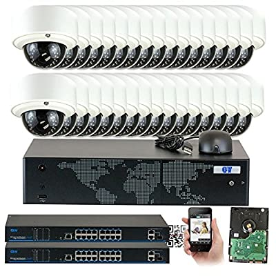 SpyGear-GW Security 1080P Max 5.0MP NVR Network IP Security Camera System - HD Megapixel 2.8~12mm Varifocal Zoom 80ft IR PoE IP Dome Camera - Support ONVIF P2P Quick QR Code Remote Access - GW Security
