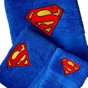 Superman Embroidery Logo Personalized Bath Towel 3 Piece Set Brand New Handmade