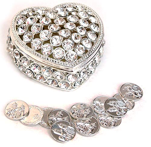 - Joice Gift Heart Shaped Wedding Arras with Decorative Rhinestone Crystal and Coins Set