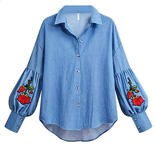 Button Embroider (Generic Women's Embroider Floral Long Sleeve Denim Shirt Button Down Blouse Tops As Picture M)
