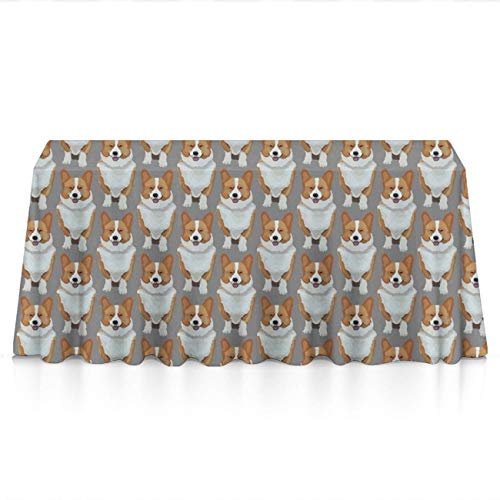 Premium Table Cloths for Holiday Dinner, Catering Events, BBQ - Funny Cute Corgis Puppy Dust-Proof Stain Resistant Table Toppers Polyester Dinning Tabletop Decoration ()