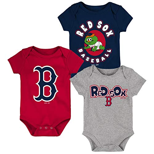 Boston Red Sox Body - Boston Red Sox Toddler 3-Pack Baby Onesie Bodysuit Creeper Set (24 Month)
