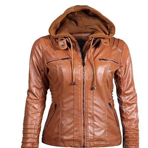 Uniflow In Woman PU Leather Jacket Coat With Hat Long Sleeve Solid Color Large Size (XL, Khaki)
