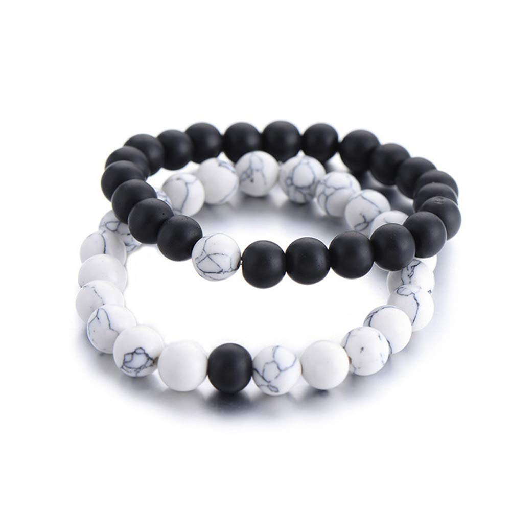 Boniface3 2pcs/Set Couples Distance Bracelet Classic Natural Stone Yin Yang Beaded Bracelets