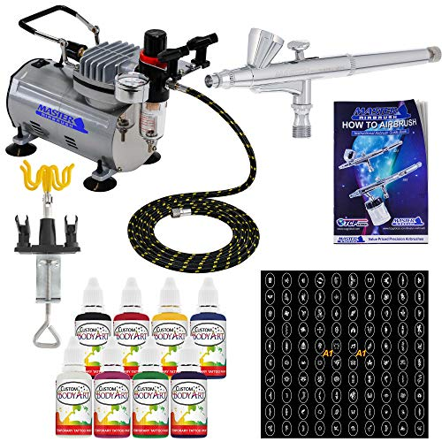 Master Airbrush Brand Deluxe Airbrush Tattoo KIT 8 Includes: Compressor, Hose, Airbrush, 8 Popular Ink Colors, and Stencils (Airbrush Face Painting Kits)