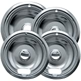 Range Kleen 10124XZ Chrome Style A Drip Pans. 4 Pack Containing 3 Units of 6 inch 101Am, 1 Unit of 8 inch 102Am. Will fit most electric ranges with plug in elements