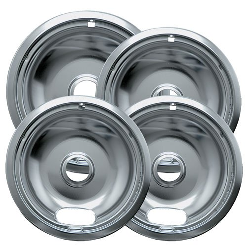 Electric Hinged Drip Pans - Range Kleen 10124XZ Chrome Style A Drip Pans Sets of 4, 3 6 Inch and 1 8 Inch