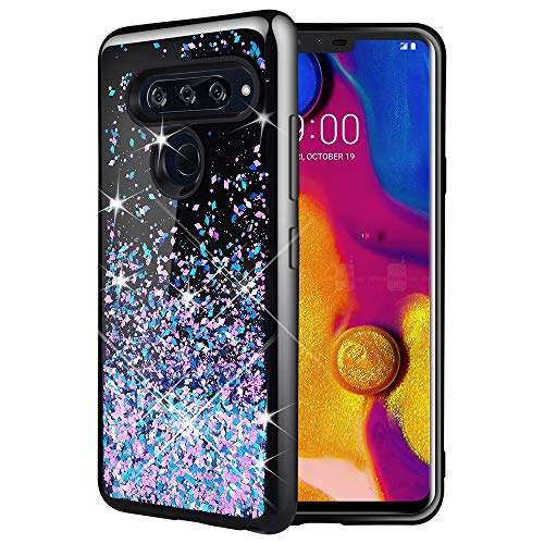 Caka LG V40 ThinQ Case, LG V40 ThinQ Glitter Case [Starry Night Series] Luxury Fashion Bling Flowing Liquid Floating Sparkle Glitter Soft TPU Black Case for LG V40 ThinQ 2018 - (Blue Purple)