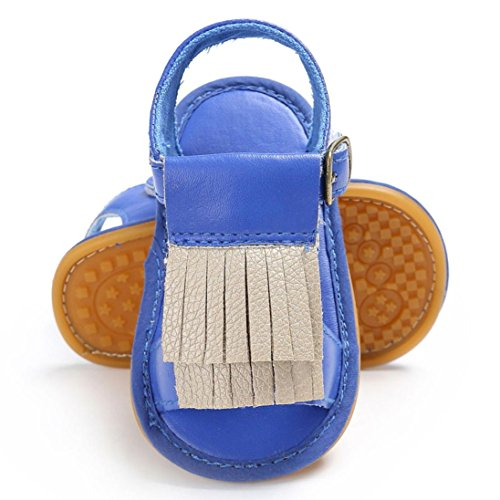 zapatos de bebe primeros pasos, Switchali Recién nacido bebe niña verano Suela blanda Antideslizante Sandalias Niños Zapatillas niñas vestir borla casual moda Calzado Azul