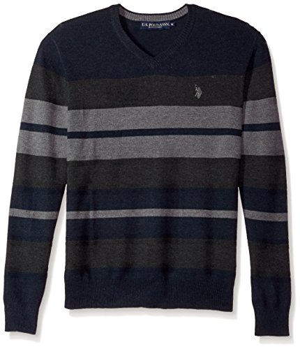 U.S. Polo Assn. Men's Stretch Textured Stripe V-Neck Sweater, Navy, X-Large by U.S. Polo Assn.