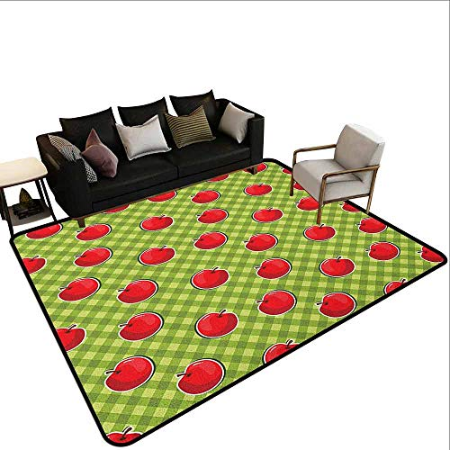(Square Carpet Apple,Diagonal Stripes Plaid Background Organic Fruits Summer Picnic Theme, Pale Green Red Fern Green)