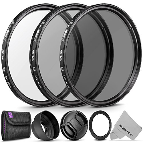 Essential Accessory Kit for CANON PowerShot SX530 HS, SX520 HS, SX60 HS, SX50 HS, SX40 - Includes: Filter Adapter Ring + Altura Photo Filter Kit (UV-CPL-ND4) + Collapsible Rubber Lens Hood + Lens Cap by Goja