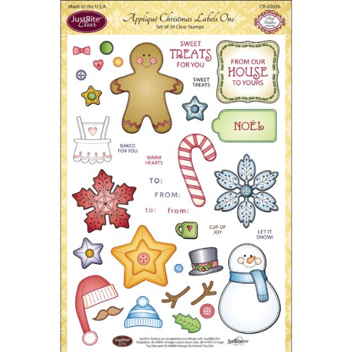 UPC 846981020268, Justrite Clear Stamp Set, 6-Inch x 8-Inch, Applique Christmas Labels One