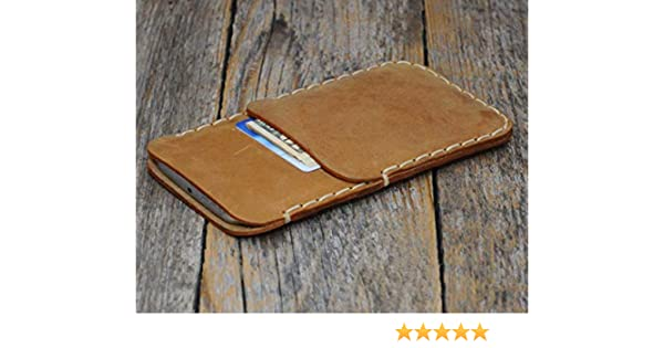 Café claro estuche billetera funda de cuero para iPhone 11 Pro XS X con bolsillos para tarjetas de crédito. Estuche de manga. Cosido a mano.: Amazon.es: Handmade