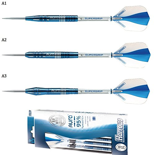 PerfectDarts 26g A2 HARROWS Aura Blue Nitride Tungsten Darts Set ()