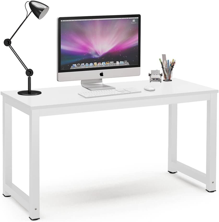 Tribesigns Computer Desk, 55 inch Large Office Desk Computer Table Study Writing Desk for Home Office, White + White Leg