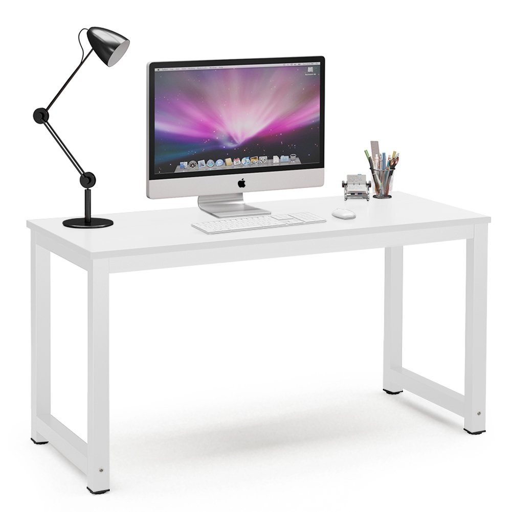 Tribesigns Computer Desk, 55'' Large Office Desk Computer Table Study Writing Desk for Home Office, White + White Leg