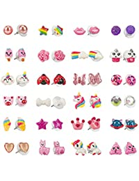 Hypoallergenic Earrings Set for Little Girls, Children's Colorful Cute Earrings for Kids