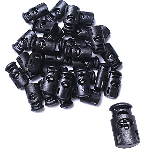 AXEN 30PCS Plastic Cord Locks End Spring Stopper Fastener Toggles for Shoelaces, Drawstrings, Paracord, Bags, Clothing and More, Black