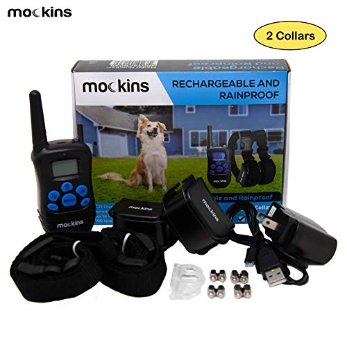 Mockins Set of 2 | 100% Rainproof and Rechargeable Electronic Remote Training Dog Collar | Shock Collar for Dogs with 990 ft Range E Collar, Beep and Vibration Easy Use for Big, Medium and Small Dog
