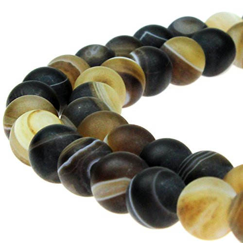 JARTC Natural Stone Beads Matte Coffee Stripe Agate Round Loose Beads for Jewelry Making DIY Bracelet Necklace (10mm)