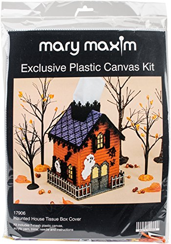 Mary Maxim Haunted House Plastic Canvas Tissue Box Kit, 5