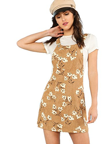 7c1a3f9bc8a Romwe Women s Straps A-line Corduroy Pinafore Bib Pocket Overall Dress