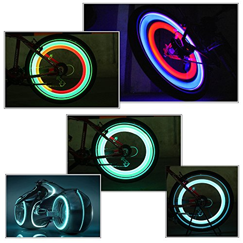 ShineMe 4pcs Bike Wheel Lights Waterproof Spoke Bicycle Lights Wire Tyre LED Neon Light Lamp Bulb - Red Blue Green and Multi-color Used for Safety and Warning(Ramdon Color) by ShineMe (Image #5)
