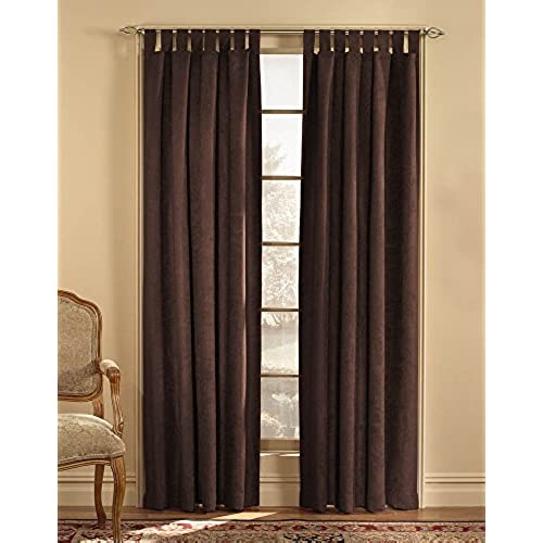 Microsuede Ultra Suede 50 By 63 Inch Tab Top Window Curtain