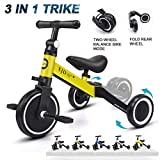 XJD 3 in 1 Kids Tricycles for 1-3 Years Old Kids Trike 3 Wheel Bike Boys Girls 3 Wheels Toddler Tricycles Toddler Bike Trike Upgrade 2.0 (Yellow)