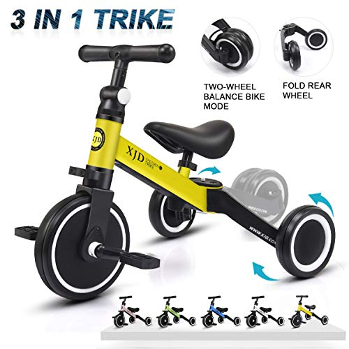 (XJD 3 in 1 Kids Tricycles for 1-3 Years Old Kids Trike 3 Wheel Bike Boys Girls 3 Wheels Toddler Tricycles Toddler Bike Trike Upgrade 2.0 (Yellow))