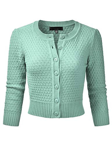 EIMIN Women's Crewneck Button Down 3/4 Sleeve Knit Crop Cardigan Sweater Aqua L