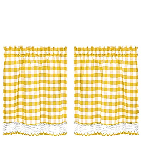 (GoodGram Buffalo Check Plaid Gingham Custom Fit Window Curtain Treatments Assorted Colors, Styles & Sizes (24 in. Tier Pair, Yellow))