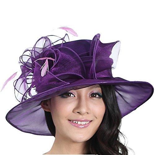 June's Young Women Wide Brim Summer Sun Hat Beach Hat (Purple)