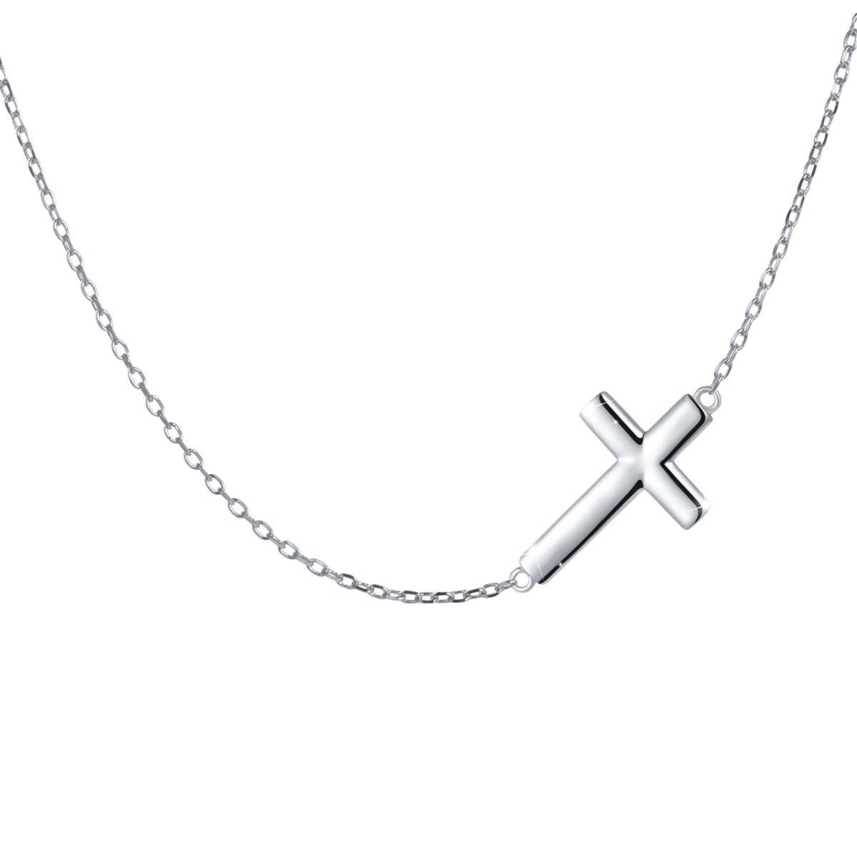 S925 Sterling Silver Jewelry Sideways Cross Choker Necklace 15+3''