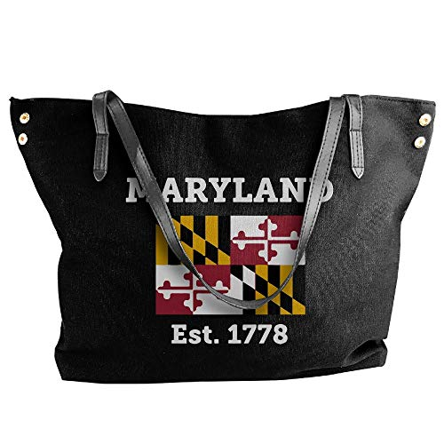 SW98Q98 Maryland Est.1778 State Flag Women's Leisure Canvas Shoulder Bag for Travel ()